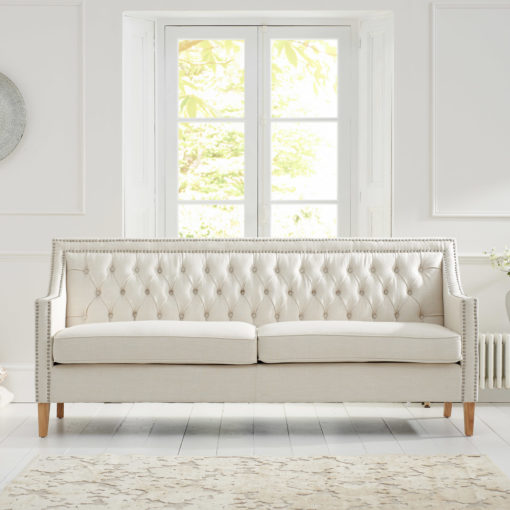 Casa Bella Ivory Fabric 3 Seater Sofa with Natural Ash Wood Legs