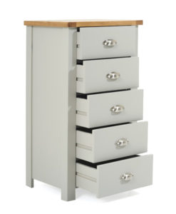Sandringham Oak and Grey 5 Drawer Chest (f) PT50011 -
