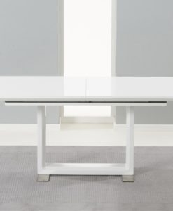 Beckley 160cm solid wood table with white high gloss finish 1