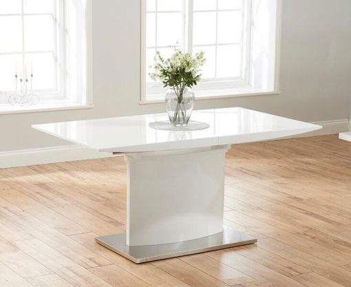 Hayden 160cm White High Gloss Extending Dining Table 1