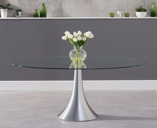 Pria 180cm Oval Glass Dining Table 1