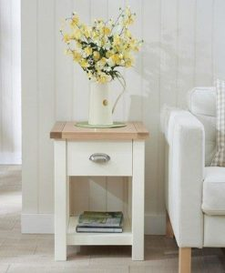 Sandringham lamp table oak painted cream 1