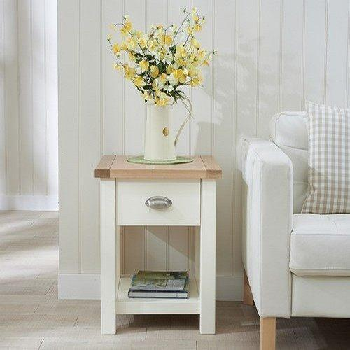 Birch Lane Abington Carston Solid Pine Lighted Display: Sandringham Lamp Table Oak & Painted Cream