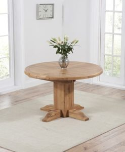 Turin solid oak 125 cm round extending dining table with a waxed finish 3