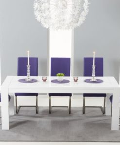 Venice white high gloss 200 cm extending dining table 5