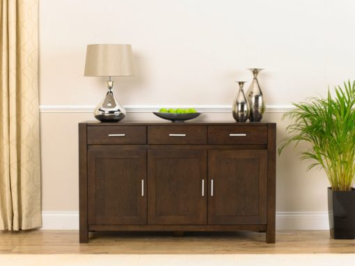 Verona dark solid oak large sideboard with a dark waxed finish with veneered panelled doors and drawer 1