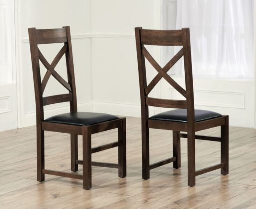 Canterbury Dark Solid Dark Oak Chair With Bycast Brown Leather Seat Pair 1