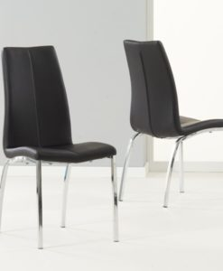 Carsen Black Pu Leather Chrome Chairs Pairs 1