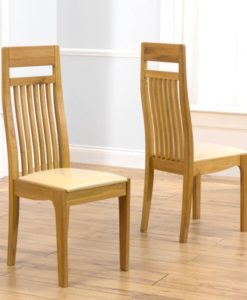 Monte Carlo Oak Solid Oak Chair With Cream Leather Seat