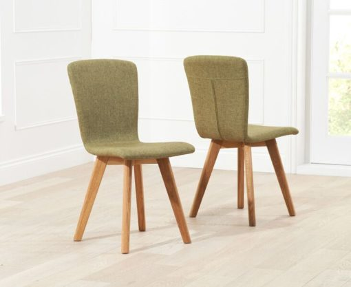 Tribeca Green Fabric Dining Chairs Pairs 1