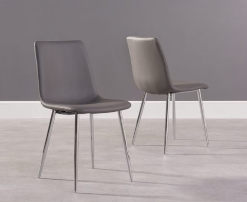 Hatfield Pu Chrome Dining Dining Chair Grey Pairs 1