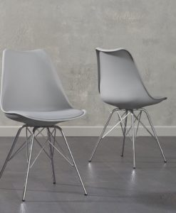 Calabusus Chrome Leg Light Grey Faux Leather Dining Chair Pairs 1