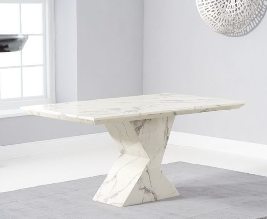 Allen 160cm White Marble Dining Table 3