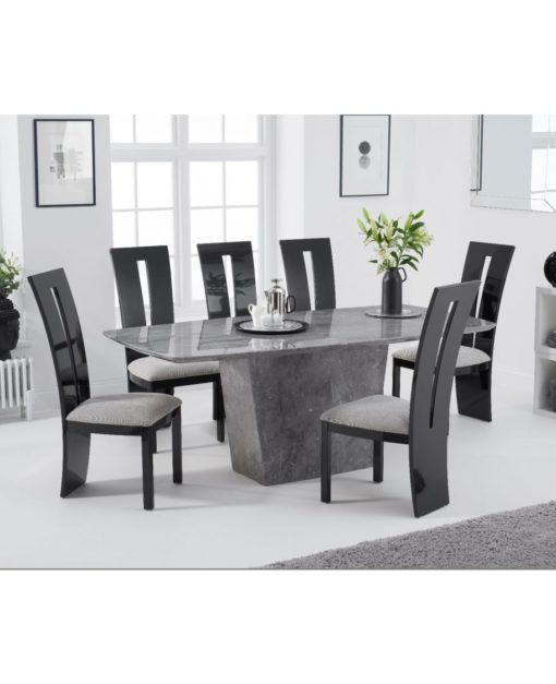 fariah 200cm light grey marble dining table 5
