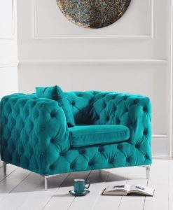 alegra teal plush armchair 1