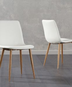 hatfield cream faux leather wooden leg dining chairs 1