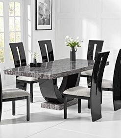 rivilino 200cm dark grey marble dining table 21