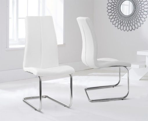 tonia hoop leg white pu leather dining chairs pair 1