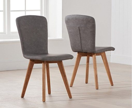 tribeca grey faux leather dining chairs pair1