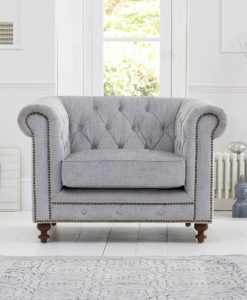 Montrose Grey Plush Fabric Armchair With Dark Ash Wood Legs