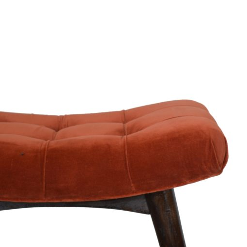 Brick Red Cotton Velvet Curved Bench7 1
