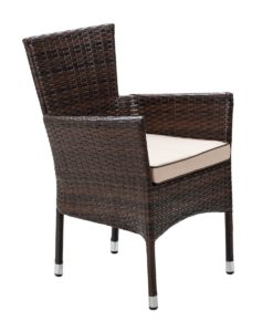 Cambridge 6 Rattan Garden Chairs and Large Round Dining Table Set in Chocolate and Cream 2
