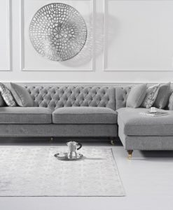 Fiona Grey Linen right Facing Chaise Sofa 1